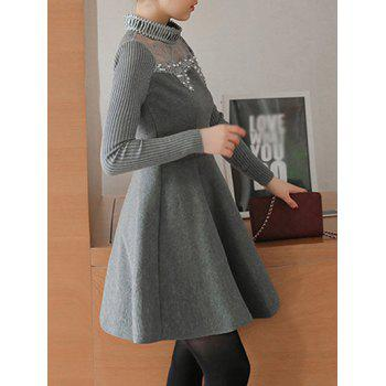 Lace Spliced Beading Knitting Dress - GRAY M