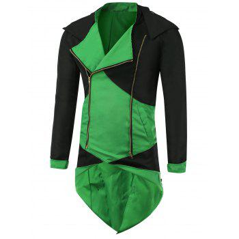 Color Block Splicing Hooded Cosplay Jacket - BLACK AND GREEN BLACK/GREEN