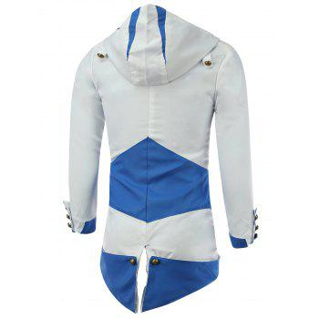 Color Block Splicing Hooded Cosplay Jacket - BLUE/WHITE BLUE/WHITE