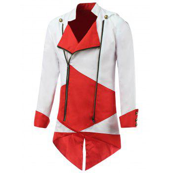 Color Block Splicing Hooded Cosplay Jacket - RED WITH WHITE RED/WHITE