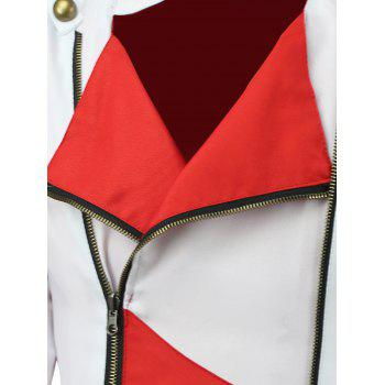 Color Block Splicing Hooded Cosplay Jacket - RED/WHITE RED/WHITE