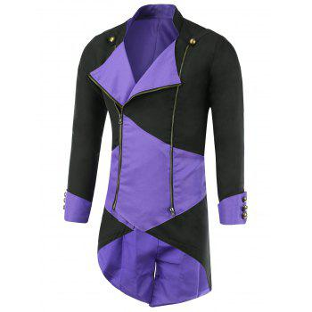 Color Block Splicing Hooded Cosplay Jacket - PURPLE M