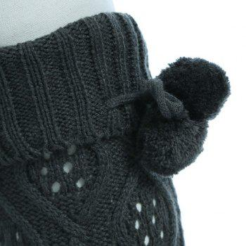 Small Ball Flanging Infinity Knitted Leg Warmers - DEEP GRAY