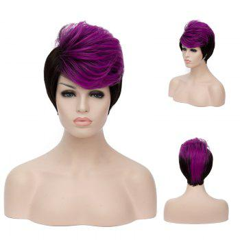 Short Side Bang Fluffy Straight Purple Highlights Synthetic Wig