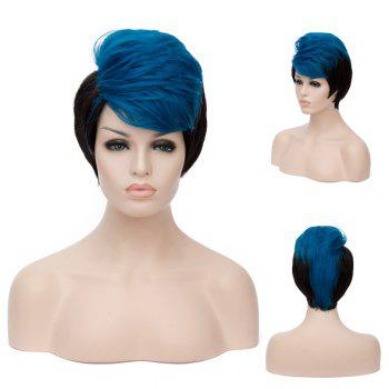 Short Side Bang Fluffy Straight Blue Highlights Synthetic Wig