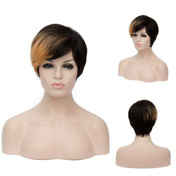 Short Side Bang Fluffy Straight Golden Brown Highlights Synthetic Wig