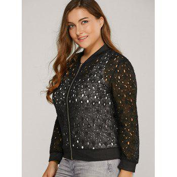 Hollow Out Lace Bomber Jacket