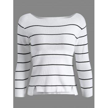 Boat Neck Long Sleeve Stripe Sweater