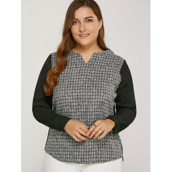 Long Sleeve Plaided Splicing Blouse