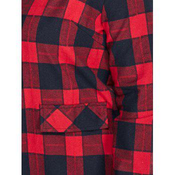 Button Up Plaid Plus Size Shirt Dress - RED XL