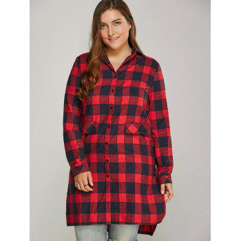 Button Up Plaid Plus Size Shirt Dress