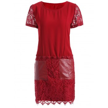 Pocket Lace Splicing Faux Leather Panel Dress