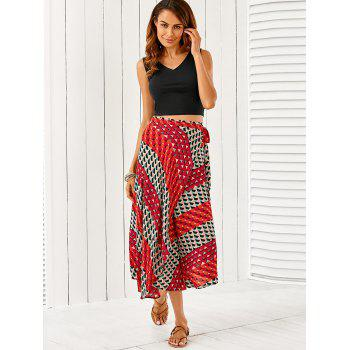 V Neck Crop Top With Geometric Pattern Skirt Twinset