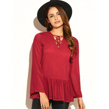 Lace-Up Flare Sleeve Blouse