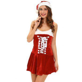 Christmas Cosplay Costume Lace Up Velvet Cami Dress