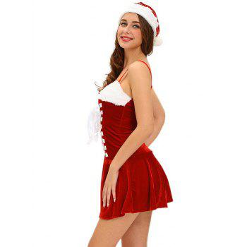 Christmas Cosplay Costume Lace Up Velvet Cami Dress - RED RED