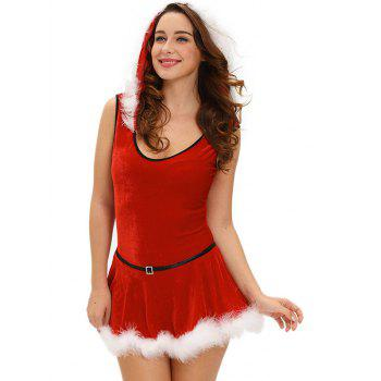 Christmas Hooded Jumpsuit With Skirt - L L