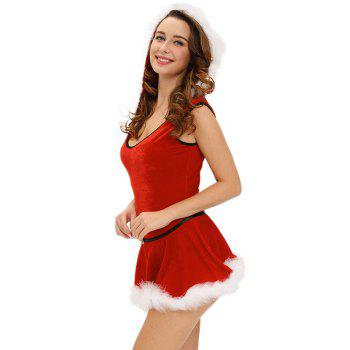 Christmas Hooded Jumpsuit With Skirt - RED RED