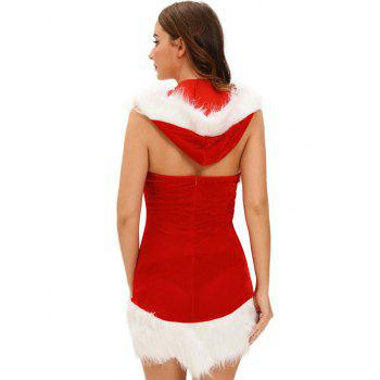 Christmas Cut Out Velvet Dress - RED RED