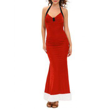 Christmas Backless Velvet Prom Dress with Halter Neckline