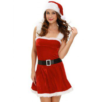 Christmas Cosplay Belted Cut Out Velvet Dress Costume