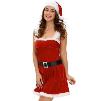 Christmas Cosplay Belted Cut Out Velvet Dress Costume - RED ONE SIZE