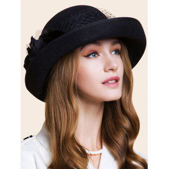 Double Floral Embellished Flanging Bowler Hat