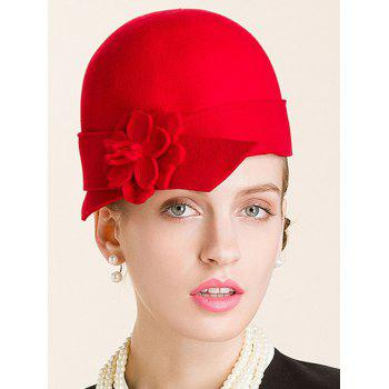 Flower Embellished 20s Wool Fedora Hat