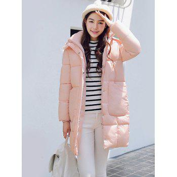 Hooded Fuzzy Pockets Padded Coat