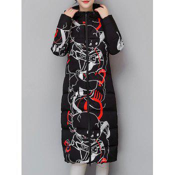 Hooded Vintage Printed Quilted Coat