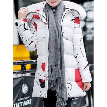 Buy Hooded Fuzzy Printed Padded Coat WHITE