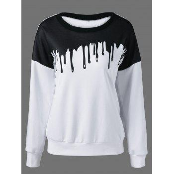 Drop Shoulder Sweatshirt - WHITE AND BLACK WHITE/BLACK