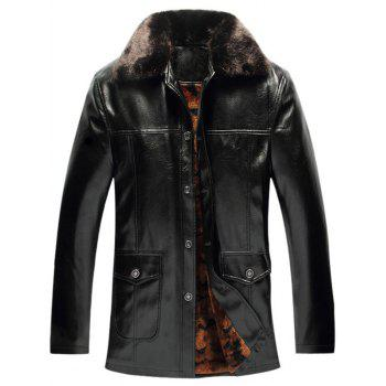 Faux Fur Collar Single-Breasted PU-Leather Fleece Coat
