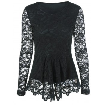 Sheer Sleeve Lace Peplum Blouse