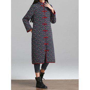 Quilted Floral Coat with Frog Buttons - CADETBLUE M