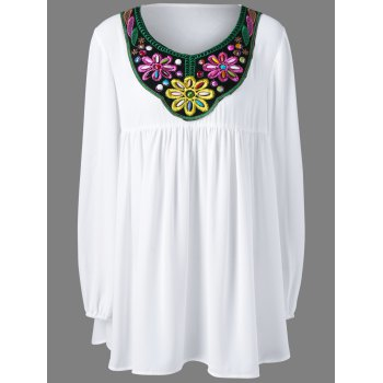 Plus Size Bead and Embroidery Blouse