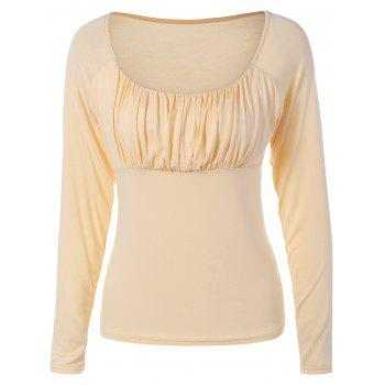 Chic Sweetheart Collar Solid Color Long Sleeve Pullover T-Shirt For Women