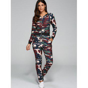 Camouflage Print Jacket with Pants