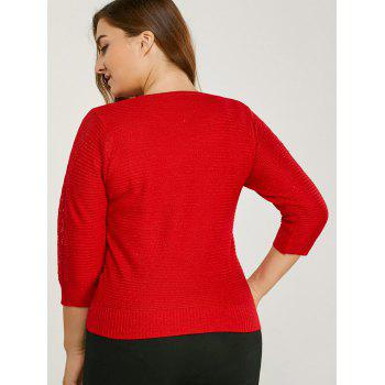 Three Quarter Sleeve Plus Size Sweater - RED ONE SIZE
