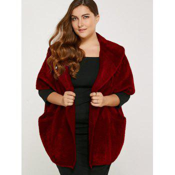 Buy Plus Size Knitted Cardigan Pocket WINE RED