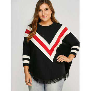 Plus Size Zig Zag Fringed Top