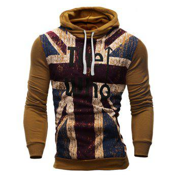 Slimming Hooded Union Jack Letters Print Color Block Rib Spliced Men's Long Sleeves Hoodie