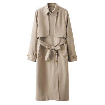 Button Up Belted Longline Trench Coat