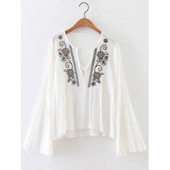 Flower Embroidered Bell Sleeves Asymmetric Blouse