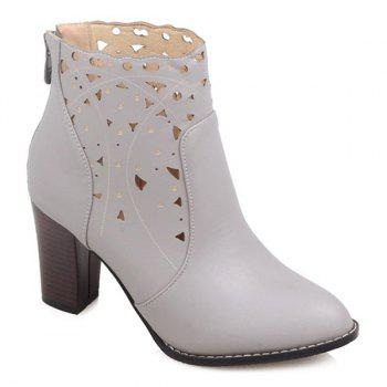 Chunky Heel Hollow Out Ankle Boots