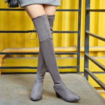 Concise Chunky Heel Flock Thigh Boots - GRAY 40