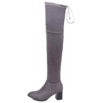 Concise Chunky Heel Flock Thigh Boots - GRAY 37