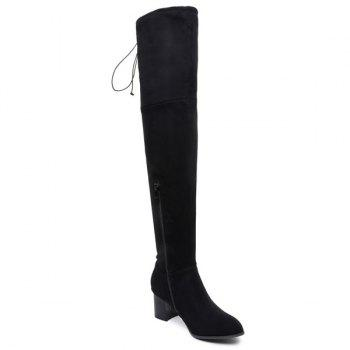 Concise Chunky Heel Flock Thigh Boots