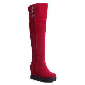 Flock Knee-High Hidden Wedge Boots