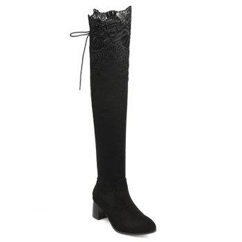 Chunky Heel Pointed Toe Lace Spliced Thigh Boots